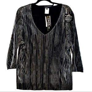 Onyx Black & Silver Collarless Blouse Size 2X NWT